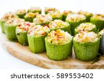 round zucchini stuffed with...   Shutterstock . vector #589553402