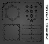 vintage set of vector... | Shutterstock .eps vector #589555358