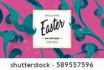 easter sale banner. spring... | Shutterstock .eps vector #589557596