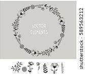 vector hand drawn elements... | Shutterstock .eps vector #589563212