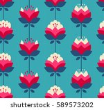 Stock vector seamless retro pattern with flowers 589573202