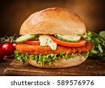 sandwich with vegetables and... | Shutterstock . vector #589576976