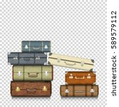 suitcases on transparent... | Shutterstock .eps vector #589579112