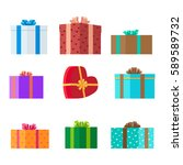 gift boxes of different shapes... | Shutterstock .eps vector #589589732