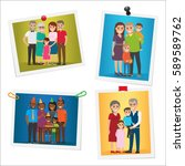 happy family pinned portraits... | Shutterstock .eps vector #589589762