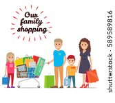 family making holiday purchases.... | Shutterstock .eps vector #589589816