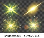 gold glitter lights effects.... | Shutterstock .eps vector #589590116
