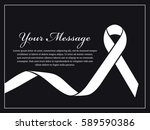 funeral card   white ribbon and ... | Shutterstock .eps vector #589590386