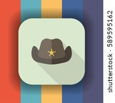 cowboy hat flat icon with long... | Shutterstock .eps vector #589595162