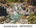 gole dell alcantara in summer... | Shutterstock . vector #589595852