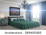 bedroom interior. 3d... | Shutterstock . vector #589600385