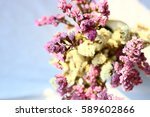 statice dry flower with vintage ... | Shutterstock . vector #589602866