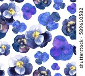 floral seamless pattern with... | Shutterstock . vector #589610582