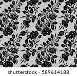 seamless black vector lace... | Shutterstock .eps vector #589614188