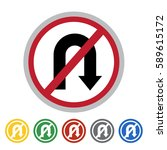 no right u turn sign icon set... | Shutterstock .eps vector #589615172