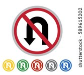 no left u turn sign icon set... | Shutterstock .eps vector #589615202