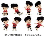 cartoon soccer kid with... | Shutterstock .eps vector #589617362