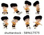 cartoon soccer kid with... | Shutterstock .eps vector #589617575