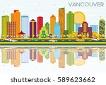 vancouver skyline with color... | Shutterstock .eps vector #589623662