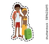 traveling couple with suitcase... | Shutterstock .eps vector #589623695