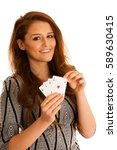 beautiful brunette holding four ... | Shutterstock . vector #589630415