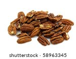 bunch of pecan nuts on a white background - stock photo