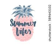 summer vibes. hand written... | Shutterstock .eps vector #589643102