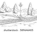 Park Graphic Black White Bench...