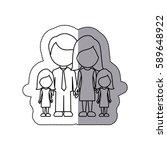 silhouette family their girls... | Shutterstock .eps vector #589648922