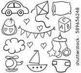 collection of baby theme object ... | Shutterstock .eps vector #589656248