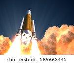 heavy rocket launch in the... | Shutterstock . vector #589663445