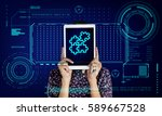 jigsaw puzzle teamwork... | Shutterstock . vector #589667528