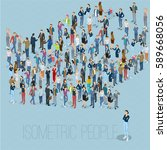 people crowd arrow. isometric... | Shutterstock .eps vector #589668056