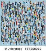 people crowd. isometric vector... | Shutterstock .eps vector #589668092