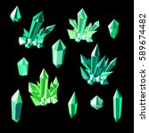 green emerald colorful shiny... | Shutterstock .eps vector #589674482