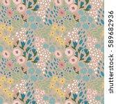 romantic floral seamless... | Shutterstock .eps vector #589682936