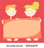 cute kids holding a greeting... | Shutterstock .eps vector #5896849