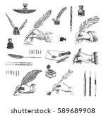 vintage hand drawn hands... | Shutterstock .eps vector #589689908