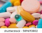 different tablets pills capsule ... | Shutterstock . vector #589693802