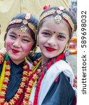 Small photo of Kathmandu,Nepal - Feb 27,2017: Nepalese dancers in traditional Nepali attire at Magar Samaj program in Kathmandu,Nepal.