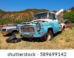 ARIZONA, USA - JUN 09, 2016: Wonderful old and rusted oldtimer in Arizona. Oldtimer stands beside oldtimer in a meadow. A dream for collectors. - stock photo