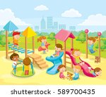 children playing in the... | Shutterstock .eps vector #589700435