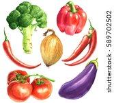 vegetables watercolor... | Shutterstock . vector #589702502