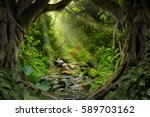 deep tropical jungles of... | Shutterstock . vector #589703162