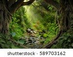 deep tropical jungles of... | Shutterstock . vector #589703162