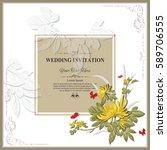 invitation card or wedding card ... | Shutterstock .eps vector #589706555