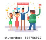 congratulations group people | Shutterstock .eps vector #589706912