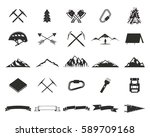 mountain expedition silhouett... | Shutterstock .eps vector #589709168