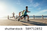 portrait of young runners... | Shutterstock . vector #589712852