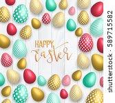 happy easter pink background... | Shutterstock .eps vector #589715582